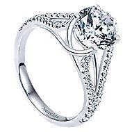 Selma 18k White Gold Round Split Shank Engagement Ring angle 3