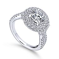 Senna 14k White Gold Round Double Halo Engagement Ring