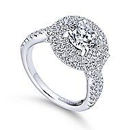 Senna 14k White Gold Round Double Halo Engagement Ring angle 3