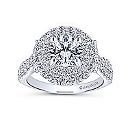 Senna 14k White Gold Round Double Halo Engagement Ring angle 5