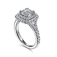 Sequoia 14k White Gold Cushion Cut Double Halo Engagement Ring