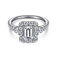 Serena 14k White Gold Emerald Cut Halo Engagement Ring angle 1