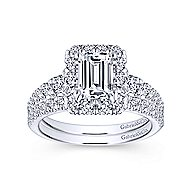 Serena 14k White Gold Emerald Cut Halo Engagement Ring angle 4