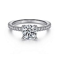 Serenity 14k White Gold Round Straight Engagement Ring angle 1