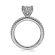 Serenity 14k White Gold Round Straight Engagement Ring angle 2