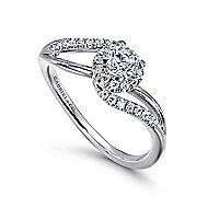 Seville 14k White Gold Round Bypass Engagement Ring angle 3
