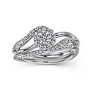 Seville 14k White Gold Round Bypass Engagement Ring angle 4