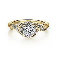 Shae 14k Yellow Gold Round Halo Engagement Ring angle 1
