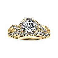 Shae 14k Yellow Gold Round Halo Engagement Ring angle 4