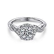 Shae Platinum Round Halo Engagement Ring angle 1
