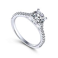 Shanna 14k White Gold Round Straight Engagement Ring angle 3