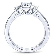 Shay 14k White Gold Princess Cut 3 Stones Engagement Ring angle 2