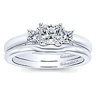 Shay 14k White Gold Princess Cut 3 Stones Engagement Ring angle 4