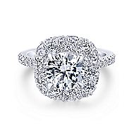 Sheer 18k White Gold Round Halo Engagement Ring angle 1