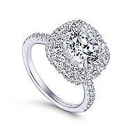 Sheer 18k White Gold Round Halo Engagement Ring angle 3