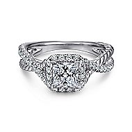 Sheridan 14k White Gold Princess Cut Halo Engagement Ring angle 1