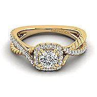 Sheridan 14k Yellow Gold Cushion Cut Halo Engagement Ring angle 1
