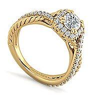 Sheridan 14k Yellow Gold Cushion Cut Halo Engagement Ring angle 3