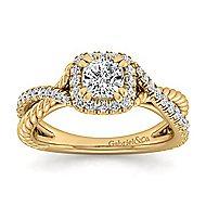 Sheridan 14k Yellow Gold Cushion Cut Halo Engagement Ring angle 5