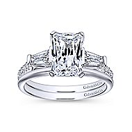 Sheryl 14k White Gold Emerald Cut 3 Stones Engagement Ring