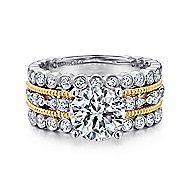 Shoshanna 18k Yellow And White Gold Round Straight Engagement Ring angle 1