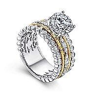 Shoshanna 18k Yellow And White Gold Round Straight Engagement Ring angle 3