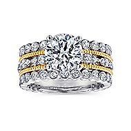 Shoshanna 18k Yellow And White Gold Round Straight Engagement Ring angle 5
