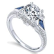Silk 18k White Gold Round 3 Stones Engagement Ring