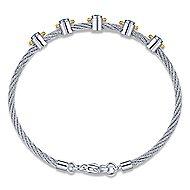 Silver-18K Gold-Stainless Steel Fashion Bracelet