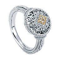 Silver-18K Yellow Gold Diamond Ladies' Ring