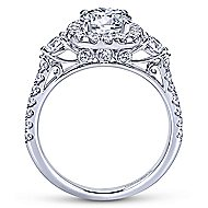 Siobhan 14k White Gold Round 3 Stones Halo Engagement Ring angle 2