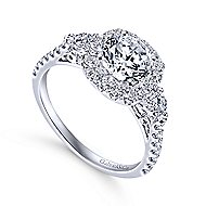 Siobhan 14k White Gold Round 3 Stones Halo Engagement Ring angle 3