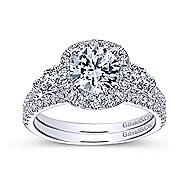 Siobhan 14k White Gold Round 3 Stones Halo Engagement Ring angle 4