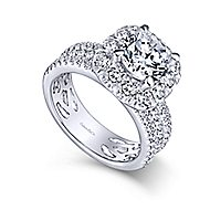 Skye 18k White Gold Round Halo Engagement Ring angle 3