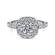 Skylar 14k White Gold Round Halo Engagement Ring angle 1