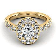 Skylar 14k Yellow Gold Oval Halo Engagement Ring angle 1