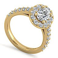 Skylar 14k Yellow Gold Oval Halo Engagement Ring angle 3