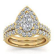 Skylar 14k Yellow Gold Pear Shape Halo Engagement Ring angle 4