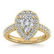 Skylar 14k Yellow Gold Pear Shape Halo Engagement Ring angle 5