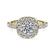 Skylar 14k Yellow Gold Round Halo Engagement Ring angle 1