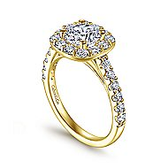 Skylar 14k Yellow Gold Round Halo Engagement Ring angle 3