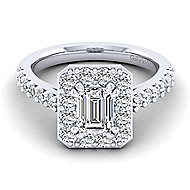 Skylar Platinum Emerald Cut Halo Engagement Ring angle 1
