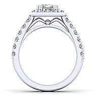 Skylar Platinum Emerald Cut Halo Engagement Ring angle 2
