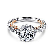 Soledad 18k White And Rose Gold Round Halo Engagement Ring angle 1