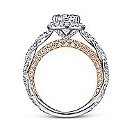 Soledad 18k White And Rose Gold Round Halo Engagement Ring