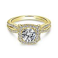 Sonya 14k Yellow Gold Round Halo Engagement Ring angle 1