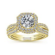 Sonya 14k Yellow Gold Round Halo Engagement Ring angle 4