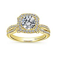 Sonya 14k Yellow Gold Round Halo Engagement Ring angle 5