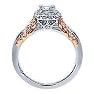 Spirit 14k White And Rose Gold Round Halo Engagement Ring angle 2