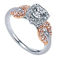 Spirit 14k White And Rose Gold Round Halo Engagement Ring angle 3